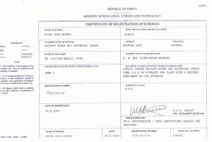 School registration certificate